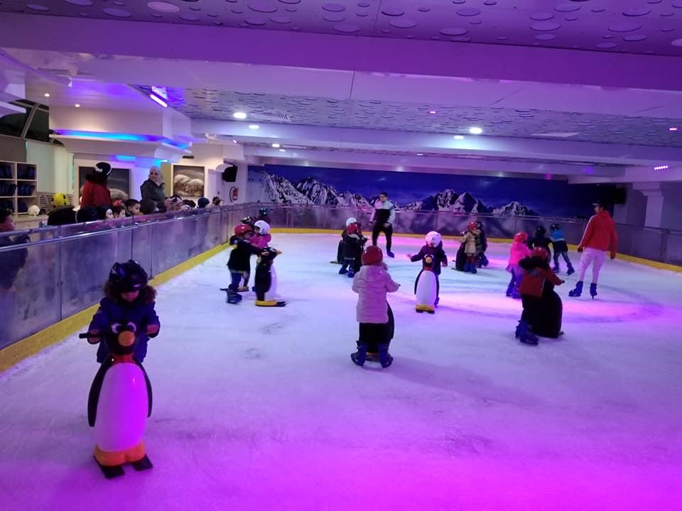 Le froid, la patinoire et les pingouins, tous ces éléments réunis pour le bonheur de sentir l'hiver entre copains.